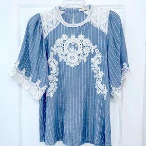 pinstripe blue lace appliqué lace shoulders blouse